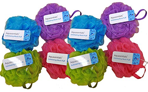 Aquasentials Mesh Pouf Bath Sponge (8 Pack) ()
