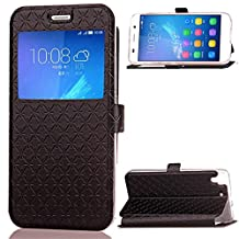 Huawei Y6 / Huawei Honor 4A Case, SATURCASE Luxury Rhombus Magnet PU Leather View Window Stand Card Slot Case Cover for Huawei Y6 / Huawei Honor 4A (Black)