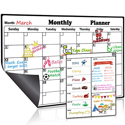Magnetic Dry Erase Calendar for Refrigerator Weekly and Monthly Planner Set 2019-2020 Fridge Calendar Kitchen Magnets Large Whiteboard Erasable Meal Planner Grocery List Organizer for Family Office