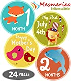 Mesmerico 24 Baby Monthly Holiday Stickers - Baby Boy Girl's First Year Month Age Growth Milestones - Month Stickers for Baby Onesie Belly Animal Stickers Unisex - Unique Baby Shower Newborn Gifts