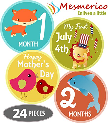 Mesmerico 24 Baby Monthly Holiday Stickers - Baby Boy Girl's First Year Month Age Growth Milestones - Month Stickers for Baby Onesie Belly Animal Stickers Unisex - Unique Baby Shower Newborn Gifts -