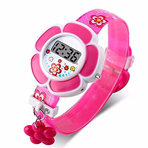 2016 New Lovely Flower Cute Kids Watches Children LED Watches Cartoon Silicone Digital Wrist Watch For - Oakley Ipod