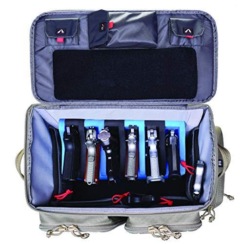 G5 Outdoors GPS Tactical Rolling Range Bag Holds 10 Handguns -Tan ()
