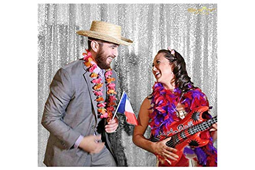 ShinyBeauty PHOTOBOOTH Background Best Choice-7FTx7FT-Silver-Sequin Photography Backdrop Curtains for Wedding]()