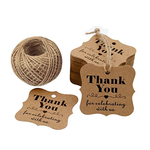 (Original Design Paper Gift Tags, 100PCS Thank You for Celebrating with US, Square Thanks Label for Baby Shower, Bridal Wedding, Anniversary Celebration (Brown))
