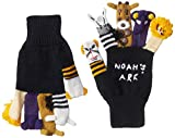 Kidorable Noah's Ark Soft Acrylic Black Knit Gloves With Five Fun Puppet Animals Medium (Ages 6-8)
