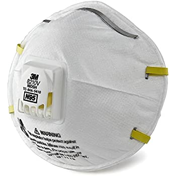 3M Particulate Respirator 8210V, N95 Respiratory Protection, 3 Single Respirators