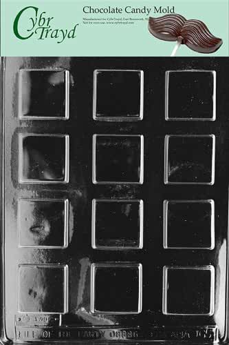 Life Of Party Molds AO065 Plain Square Mints Chocolate Candy Mold with Cybrtrayd Chocolate Molding Instructions
