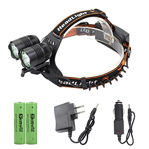 Genwiss 2 X Cree T6 Led 5000 Lumens 90 Degree Rotation Aluminum Alloy 3 switch Modes Headlamp for Camping Biking Hunting Fishing Riding Walking(Include 2 X 18650 4200 mAh Batteries - Brighteyes Hat Top