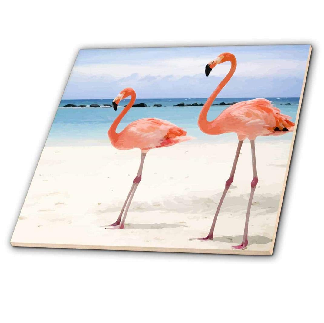 4 3dRose ct/_20551/_1 Flamingo Honeymoon-Ceramic Tile