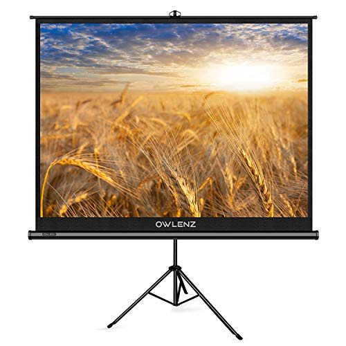 The First Projector Screen with Stand Green Environmental, OWLENZ Indoor and Outdoor Movie Screen 100 Inch Diagonal 4:3 with Premium Wrinkle-Free Design (Easy to Clean, 1.1 Gain, 160