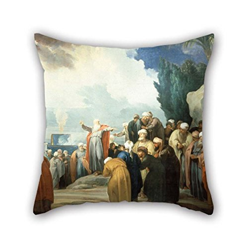 Oil Elect - The Oil Painting Jacob De Wit - Moses Elects The Council of Seventy Elders Cushion Cases of 16 X 16 Inches / 40 by 40 cm Decoration Gift for Seat Lounge Adults Bar Seat Festival Play Room (Both Si