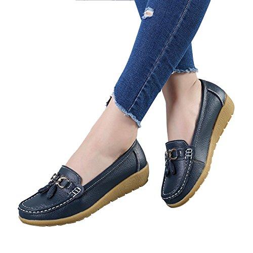 Blivener Femmes Plate-forme Décontractée Chaussures Confort Cuir Marchant Mocassin Darkblue