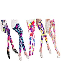 Saramin Liam 5 Packs of Super Soft Girls Leggings Pants Full Printed Flower Stretchy Tights Kids (4-12 Yrs)