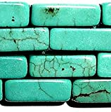 """Luxury & Custom {4 x 13mm} of Approx 30 Individual Loose Medium Size Hexagon Cylinder """"Square Tube"""" Beads Made of Genuine Turquoise Gemstone w/ Classy Fancy Marble Design on Strand {Teal}"""