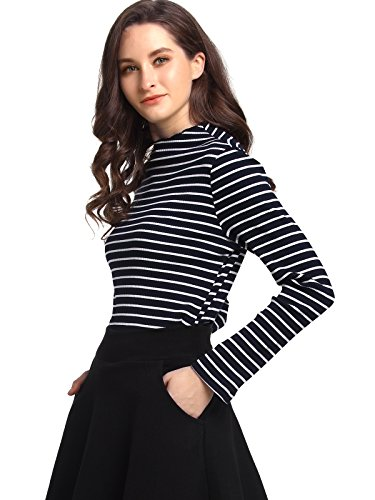 Tee Womens Ribbed Cotton (Beluring Womens Striped Long Sleeve Shirts Ribbed Cotton Tee Shirt Top)