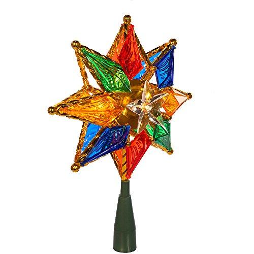 Kurt Adler 10-Light 8-Point Star Christmas Treetop, 8-Inch, Multi-Colored