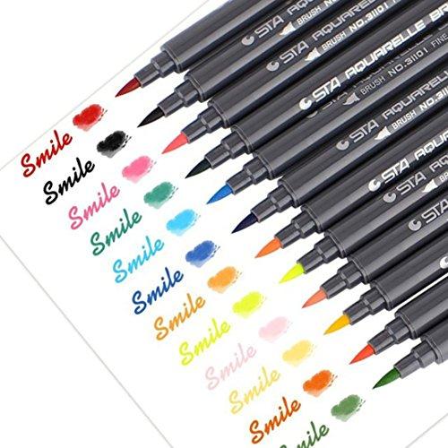 YJYdada 12 PC Premium Water Based Ink Sketch Marker Pens Fine Brush Marker Pen Graphic Drawing -  WTX80411481