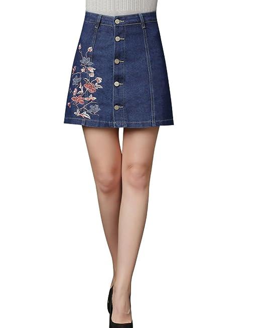 Mujer Falda De Mezclilla Con Botones Cintura Alta Bordado Elasticidad Falda- Pantalón: Amazon.es: Ropa y accesorios