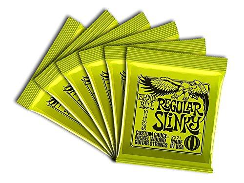 (Ernie Ball Regular Slinky Custom Gauge Nickel Wound Guitar String - Set.010 - .046 (6 Pack))