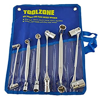 6pc Double End Flexible Socket Wrench Metric Spanner 8-19mm 6 Point TE844