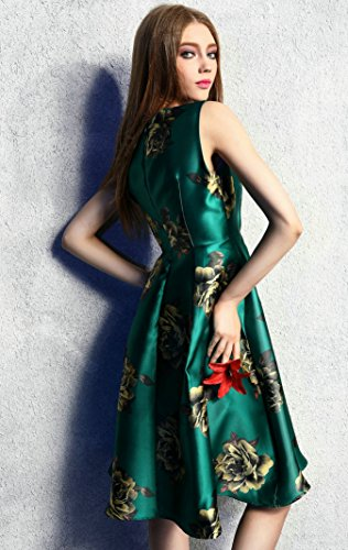 Purpura Erizo Femme Imprimée Floral Robe Au Genou Ajusté Sans Manche Fermeture Eclair