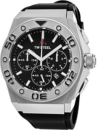 TW Steel CEO Diver Large Stainless Steel Watch - Black Dial Date TW Steel Watch Mens - Black Rubber Band 48mm Chronograph Dive Watch CE5009