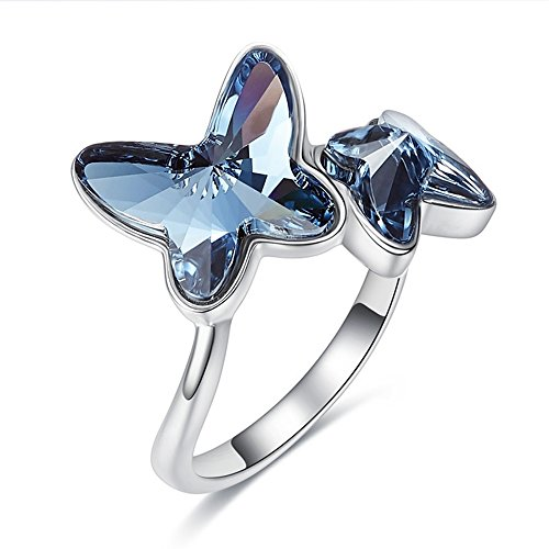 Leaf Spray Navy Blue Butterfly Swarovski Crystal Elements Ring 18K Gold Plated Engagement Ring for Women Girls Fashion Valentine Gift JTO