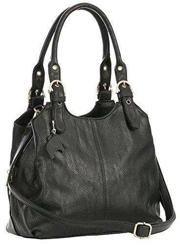 charme à taille moyenne cm Sac 27x24x12 Noir LxHxP multiples Noir Sac de de avec bandoulière BHSL Pochettes rangement qgtww7