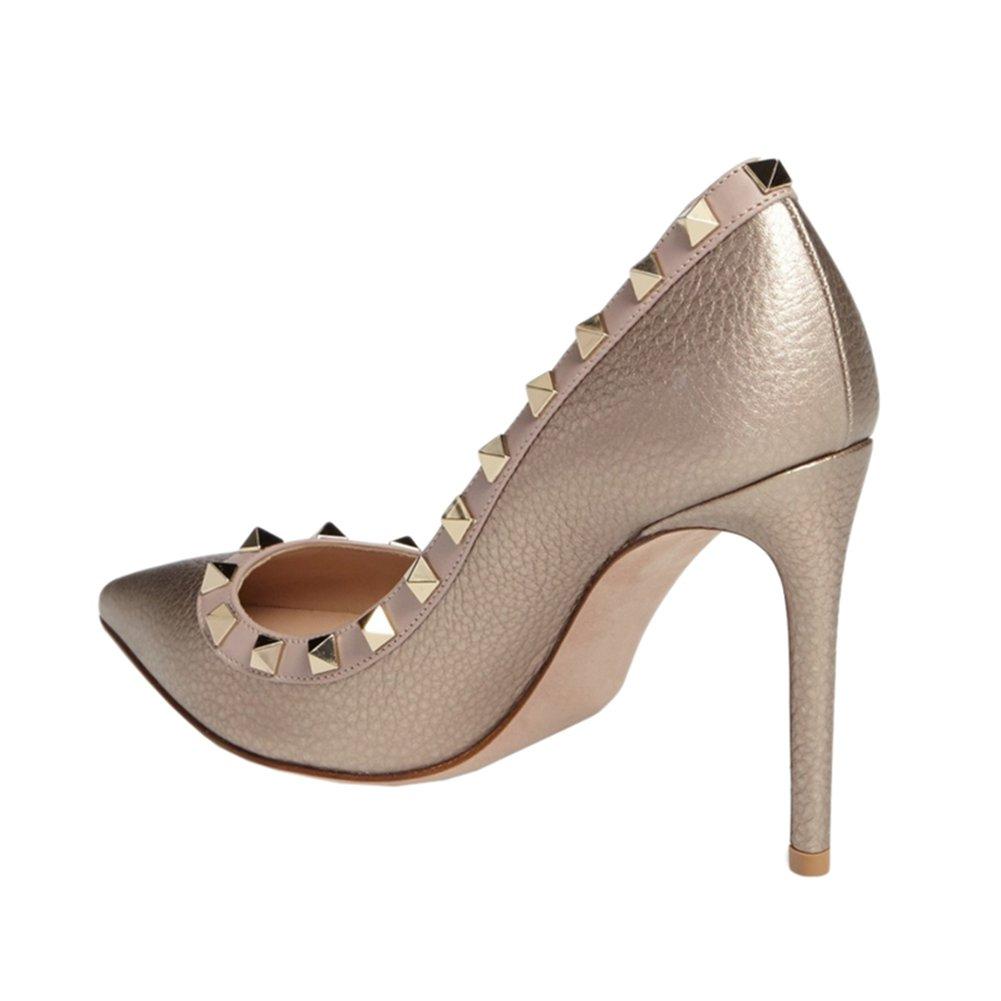 Lutalica Besetzt Damen Spitze Nieten Besetzt Lutalica Elegant Stilettos High Heel Studded Kleid Pumps Schuhe Gold Linien d92ab1