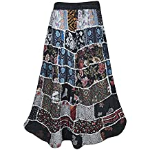 Mogul Interior Womens Patchwork Skirt Sweet Spinner Girl Vintage Indian Inspired Ethnic Swirl Style Long Skirts