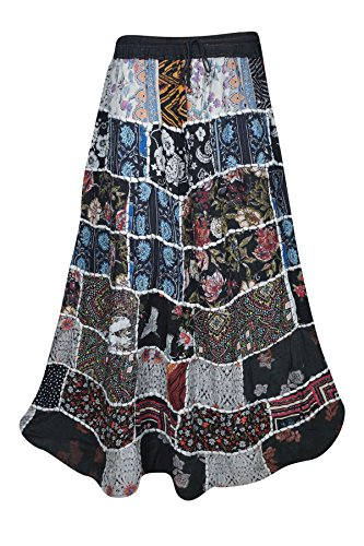Mogul Interior Womens Patchwork Skirt Sweet Spinner Girl Vintage Indian Inspired Ethnic Swirl Style Long Skirts (Blue, - Indie Inspired Clothing Vintage