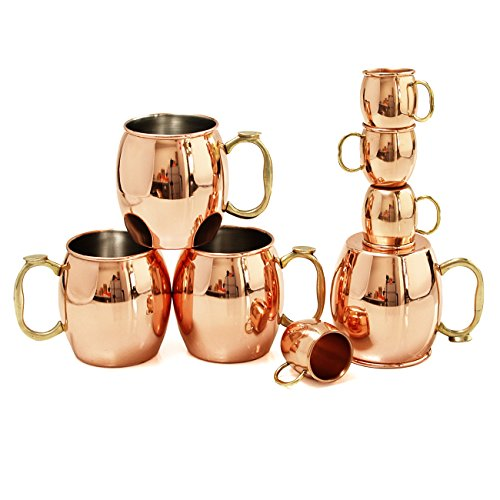Oggi Moscow Mule 8 Piece Copper-Plated Drinking Mug and Shot Mug Set ()