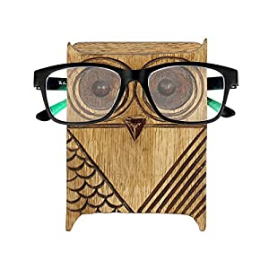 Black Friday Eyeglass Holder Wooden Spectacle Stand Quirky Owl Shaped Handmade Display Glasses Accessories and Pen Pencil Stand with Free Bookmark
