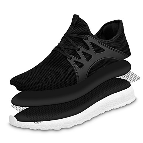 Casual Gym Sports Lightweight Walking Sneakers Mesh White Men's Black Shoes Shoes MARSVOVO Breathable xYpwtzq