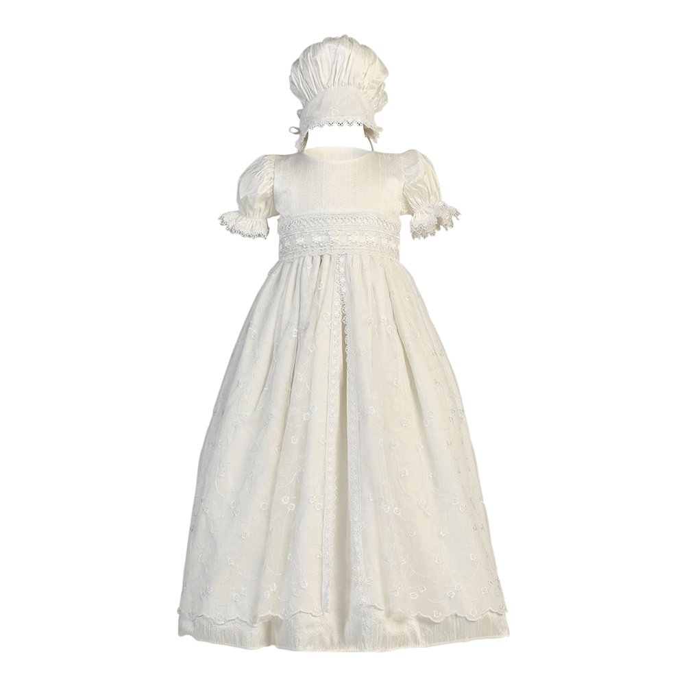 Lito Baby Girls Antique White Embroidered Tulle Overlay Baptism Silk Gown 3-6M