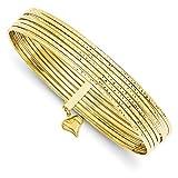 14K Yellow Gold Diamond-cut Slip On Bangles Set of 7