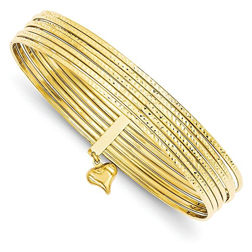 14k Yellow Gold Hollow Textured Polished Sparkle-Cut Slip 7 Bangle Bracelets (14k Slip Gold Yellow)