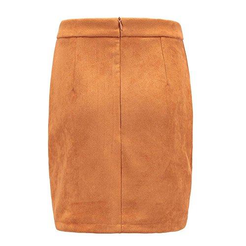 Automne Automne Mini lac Sexy Crayon pour Jupe Sud Mini Jupe Bodycon Robe Orange Femme Courte Haute Robe Sixcup Hiver Daim Taille dqTXd