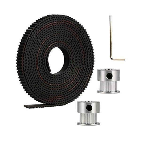 Aarya 3D 2 Meters Gt2 6mm Open Timing Belt + 2 Pcs 16 Teeth Gt2 Timing Pulley 5mm Bore + Allen Key