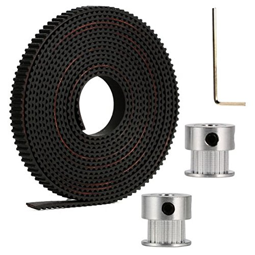 Aarya 3D 2 Meters Gt2 6mm Open Timing Belt + 2 Pcs 16 Teeth Gt2 Timing Pulley 5mm Bore + Allen Key