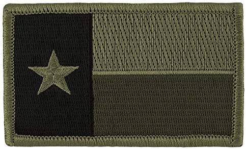 Tactical Texas Estado Bandera Parche (con velcro), color verde tenue 2