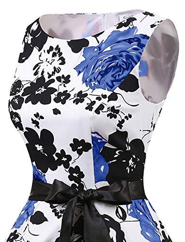 Flower Senza Cocktail White Vestito Audery Blue Swing Maniche 1950 Gardenwed Abito Polka Annata Retrò Partito Da Rockabilly BaUBzg