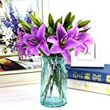 Delidge Lily artificial flowers home decor lataex real touch flower Bouquets artificial plant for office,home,garden DIY decoration (purple)