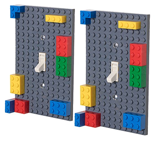 Classic Light Switch Baseplate Covers by Strictly Briks | Building Bricks Base Plates | 100% Compatible with All Major Brands | Unique Cover for Bedrooms and Play Rooms | 2 Pack Gray by Strictly Briks