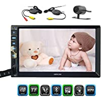 In Dash 7 Inch Capacitive Multi-Touch Screen Double 2 Din car Stereo Head Unit Bluetooth AM/FM No-DVD Player Radio Receiver Mirror Link for Android GPS Navigation Phones with Wireless Backup Camera