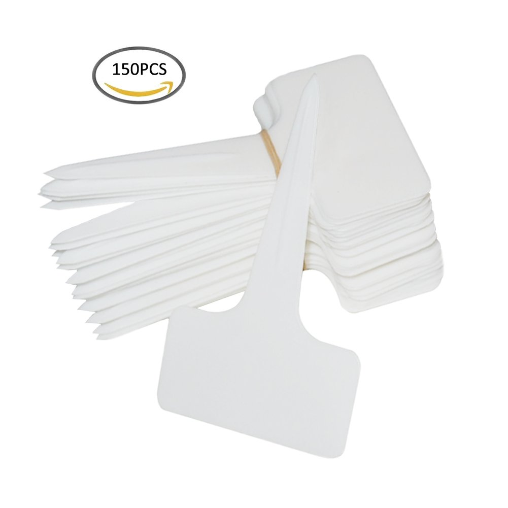 SOUBUN 150pcs 6 x10cm Plastic Waterproof T-type Tags Plant Markers - Premium Nursery Garden Labels - Eco Friendly – White by SOUBUN