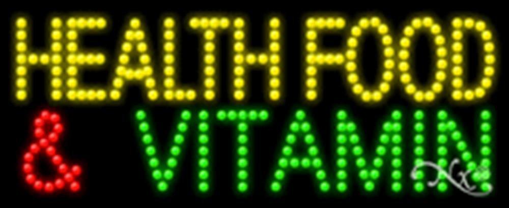 11x27x1 inches Health Food & Vitamin Animated Flashing LED Window Sign