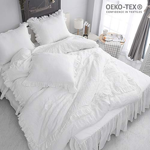 Simple&Opulence 100% Stone Washed Linen Shabby Chic Ruffled Duvet Cover Set (King, White) (100 Linen Bedding)