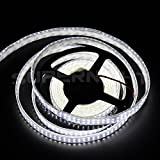 SINOLLC DC12V 16.4ft Double 2 Row 3528 SMD Silicon Tube Daylight White Waterproof Flexible Strip Light 1200LEDs/Roll Ultra Bright LED Ribbon High Density SMD LED Strip Light